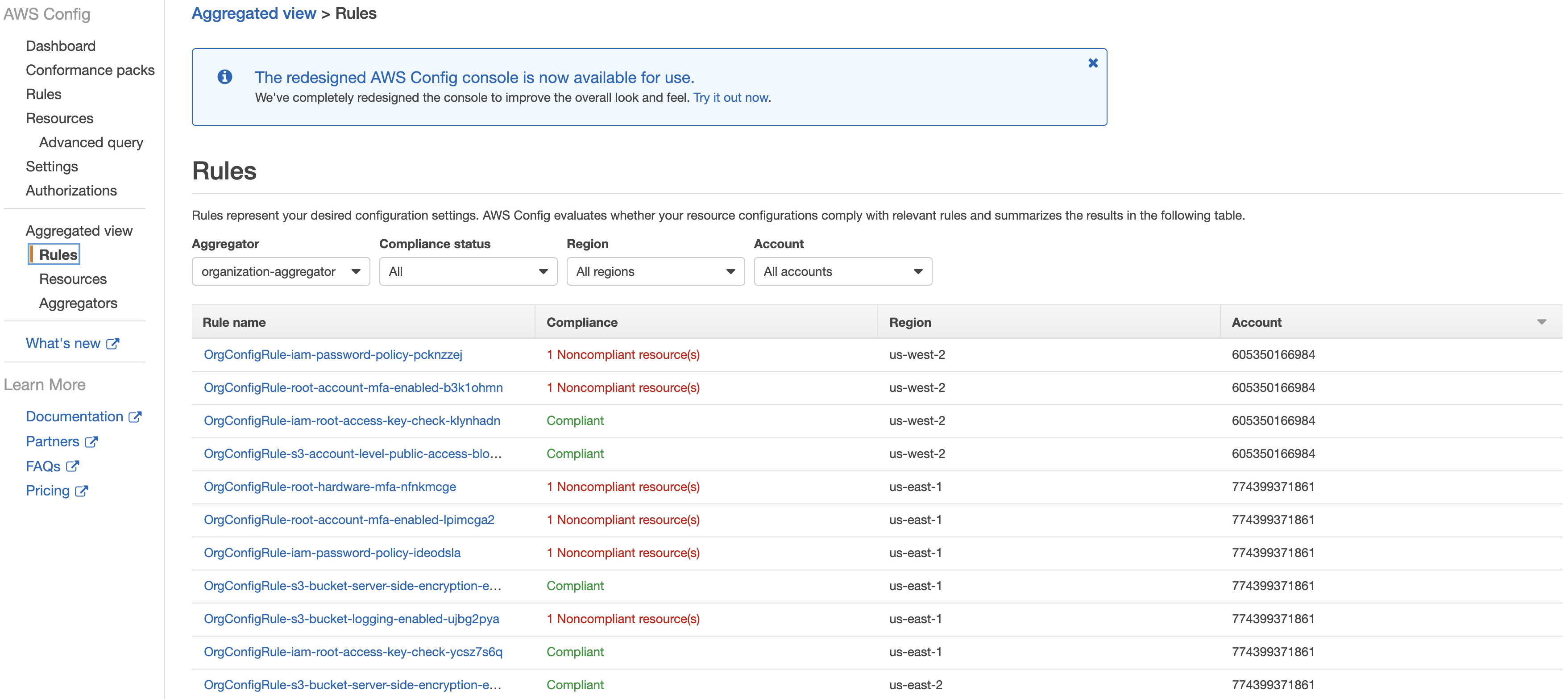 Aggregated view of Config Rules