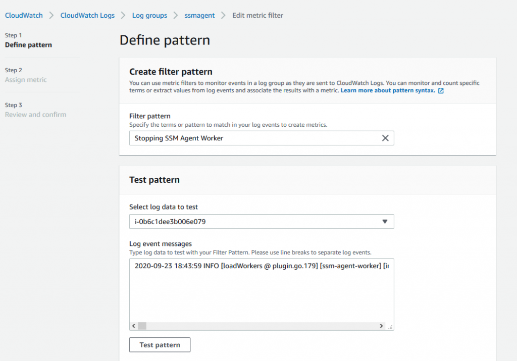 Define pattern page of the CloudWatch console