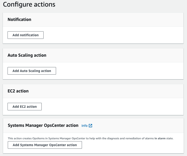 Four actions are available when creating a cloudWatch alarm. Notification, Auto-scaling, EC2 action, and Systems Manager OpsCenter action.