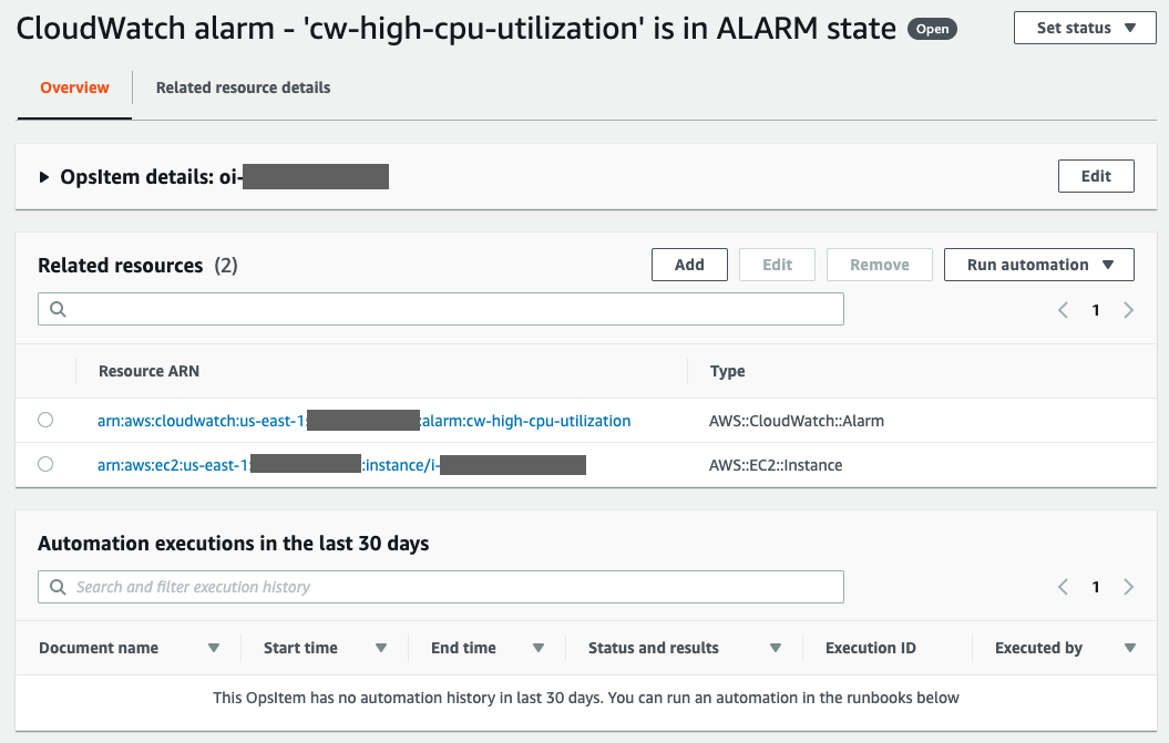 First three elements of an OpsItem. Expand to view the OpsItem details, related resources provides links to the triggering CloudWatch alarm and EC2 Instance, and a history of runbook invocations for past 30 days.