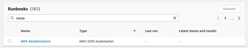 Filter runbooks by resize presents a single option for resizing EC2 instance sizes