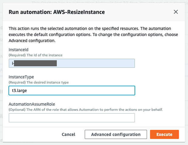 To start run automation, specify InstanceId and InstanceType
