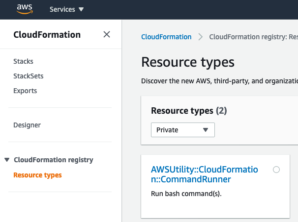 CloudFormation registry resource types console