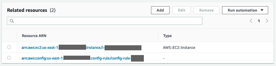 Under Resource ARN, there are entries for a noncompliant EC2 instance and the triggering AWS Config rule.