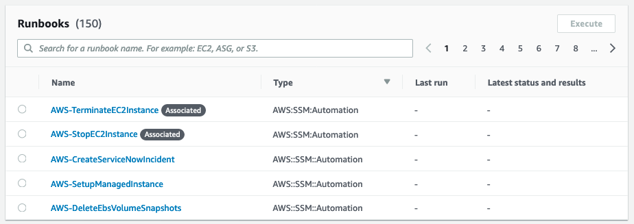 The runbooks specified in the input transformer, AWS-TerminateEC2Instance, and AWS-StopEC2Instance, appear in the Runbooks section of the console.