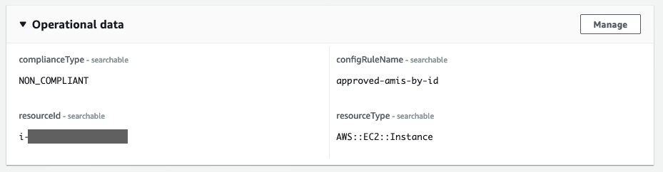 The Operational data section shows complainceType (NON_COMPLIANT), configRuleName (approved-amis-by-id), resourceId, and resourceType (AWS::EC2::Instance).