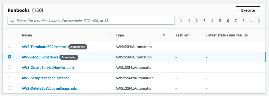 The AWS-StopEC2Instance runbook is selected on the Runbooks page of the console.