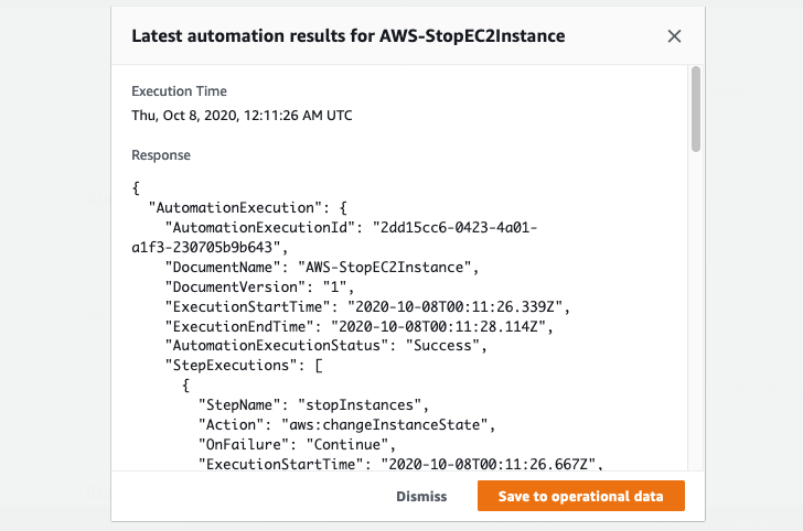 Under Latest automation results for AWS-StopEC2Instance, there is a summary of runbook status. The summary shows execution start and end times, execution status (Success), and runtimes.