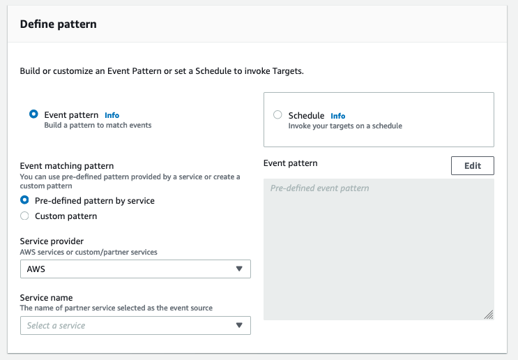 On Define pattern, Event pattern is selected. Under Event matching pattern, Pre-defined pattern by service is selected. Under Service provider, AWS is selected.