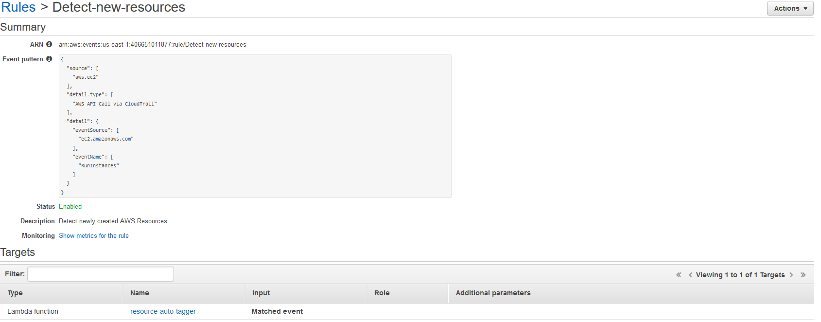 Example CloudWatch Events rule shown in the AWS console. Includes rule's event pattern & Lambda function target.
