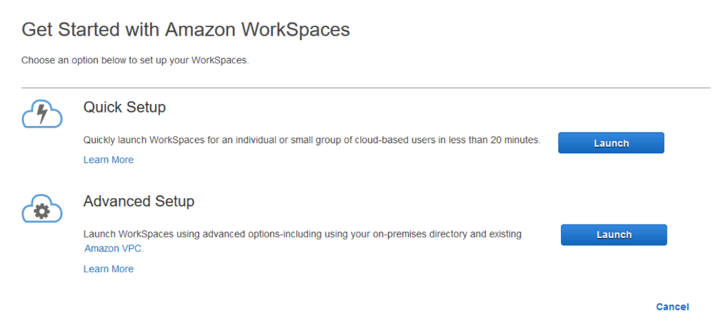 Get Started with Amazon WorkSpaces page shows quick setup and advanced setup options.
