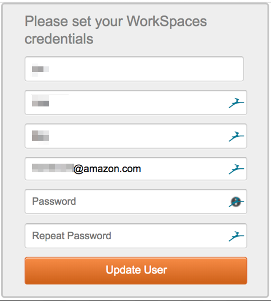 The console displays a user password registration window. The end user sets their WorkSpaces credentials by providing a new password and then choosing the Update User button.