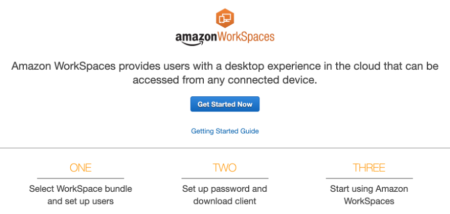 The workflow under the Get Started Now button in the AWS Management Console is to first select a bundle and set up users. The second step is to set up password and download client. The third step is to start using the service.