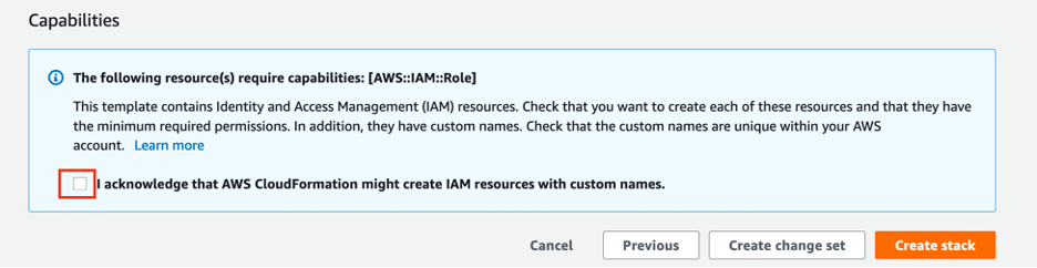 cloudformation confirmation page for IAM role creation
