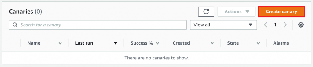 The Canaries section includes columns for name, last run, success percentage, created, state, and alarms. It also includes a Create canary button.