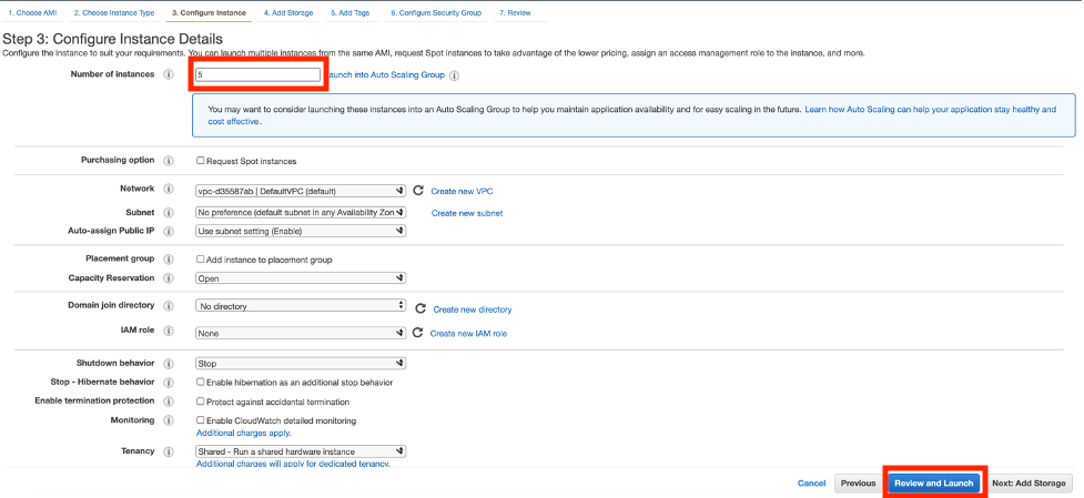 On the Configure Instance Details page, 5 is entered into the Number of Instances field.