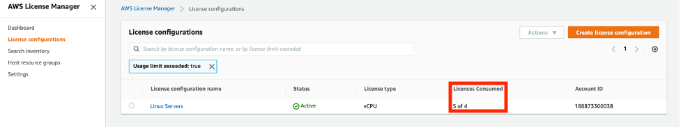 Under License configurations, the Licenses Consumed column shows 5 of 4 licenses.