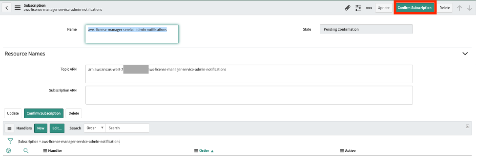 The subscription name is aws-license-manager-service-admin-notifications. Its topic ARN is displayed under Resource Names.