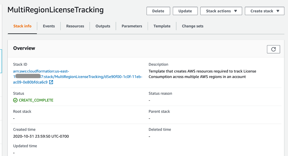On the MultiRegionLicenseTracking stack details page, the stack ID, description, status, and created time is displayed. The status is CREATE_COMPLETE.