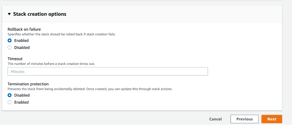 Enabled is selected for the Rollback on failure option. Disabled is selected for the Termination protection option. The Timeout field is left blank.
