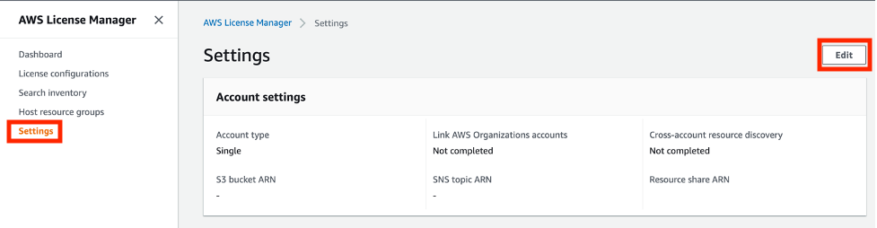 The Settings page displays account settings that include the account type, S3 bucket ARN, SNS topic ARN, resource share ARN, cross-account resource discovery, and link AWS Organizations accounts.