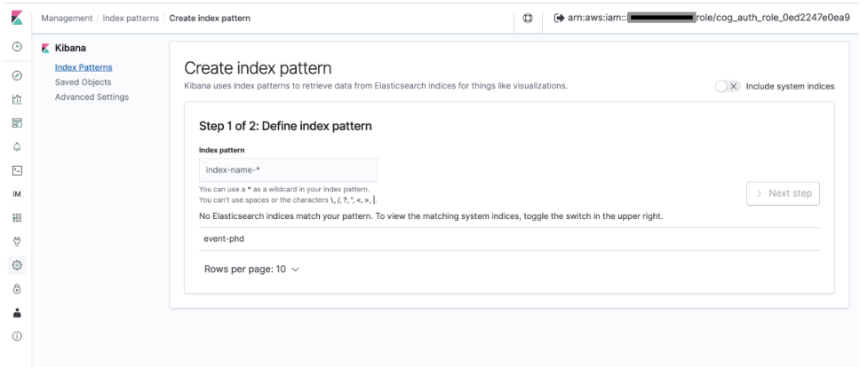 Create index pattern page is displayed with Index pattern text box, matching system indices (event-phd), disabled Next step button, and pagination.