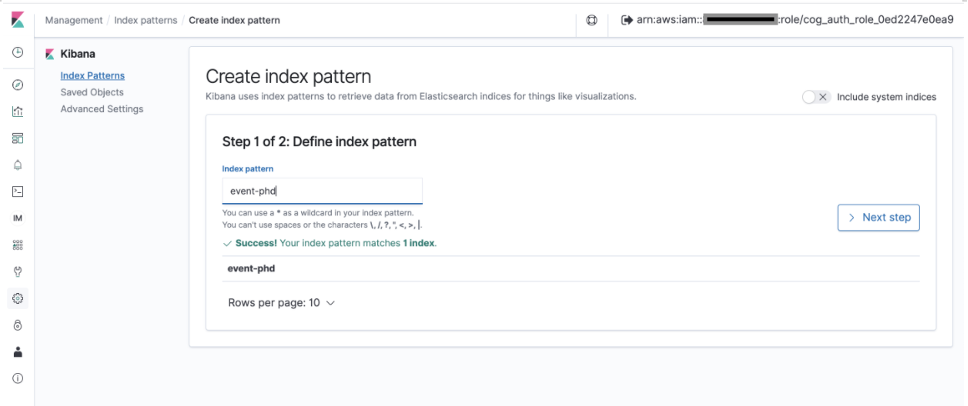 """On the Create index pattern page, event-phd appears in the Index pattern text box with a success message below saying """"Success! Your index pattern matches 1 index."""" and the Next step button enabled."""