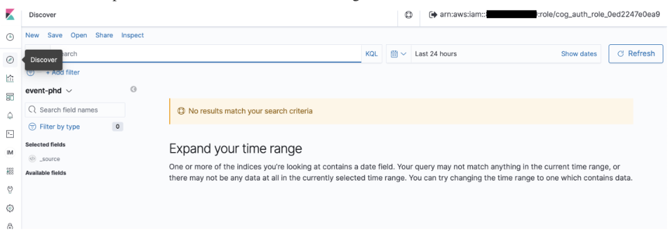 """Page says, """"Expand your time range. One or more of the indices you're looking at contains a date field. Your query may not match anything in the current time range, or there may not be any data at all in the currently selected time range."""""""