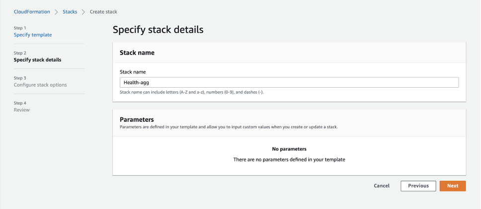 The Specify stack details page provides a field to enter a name for the stack and a Parameters section.