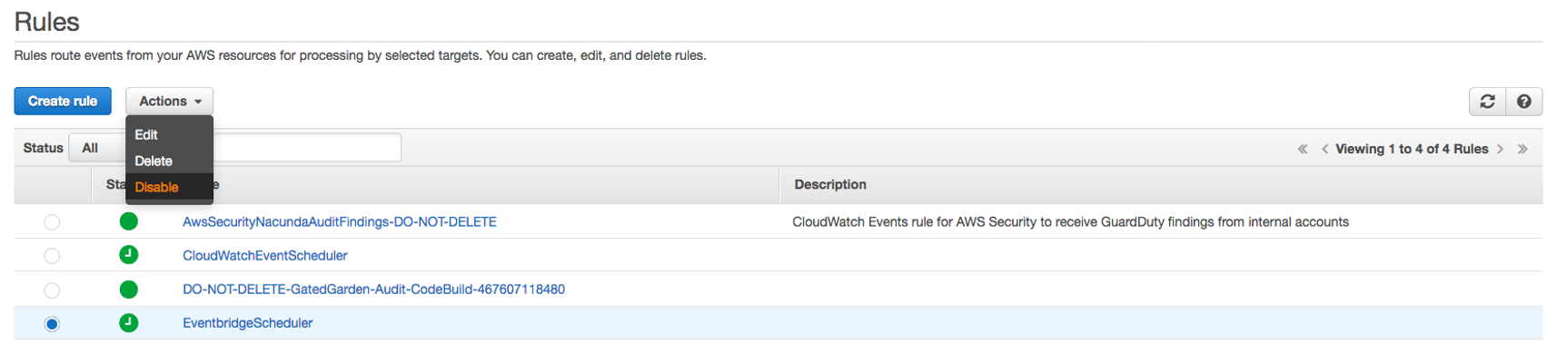 Disabling the event rule