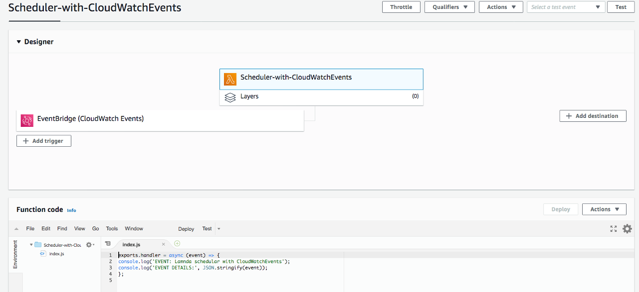 Snippet of Lambda function code for CloudWatch Events