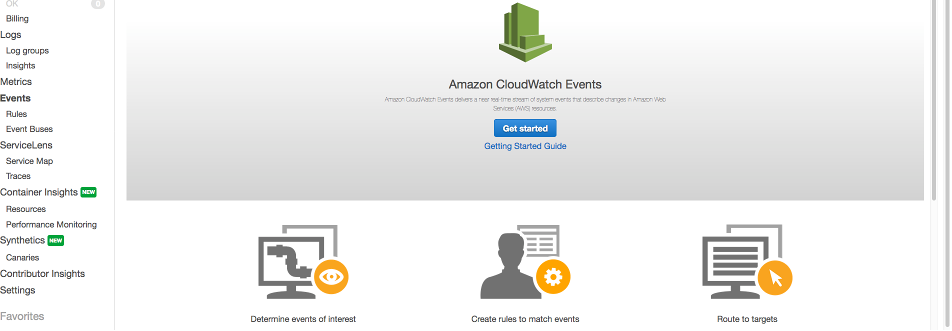 CloudWatch console with Events selected