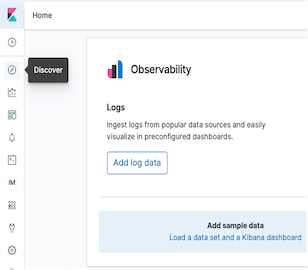 Discover is displayed in the left navigation of the Kibana console.