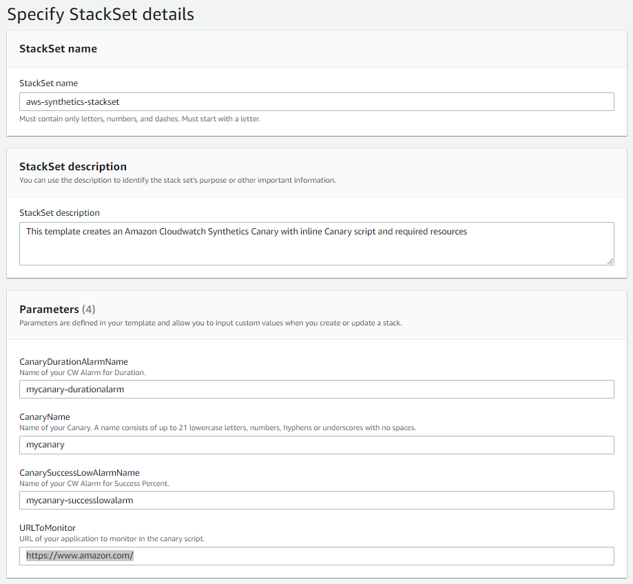 The Specify StackSet details page provides sections for the user to enter a name, description, and parameters. In the Parameters section, the user can enter CanaryName, CanarySuccessLowAlarmName, and CanaryDurationAlarmName