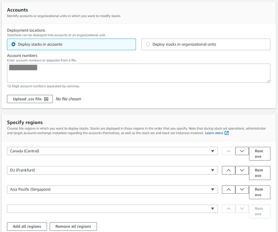 The Accounts and Specify regions sections provide fields for the user to enter AWS account IDs and AWS Regions where the stack will be deployed.