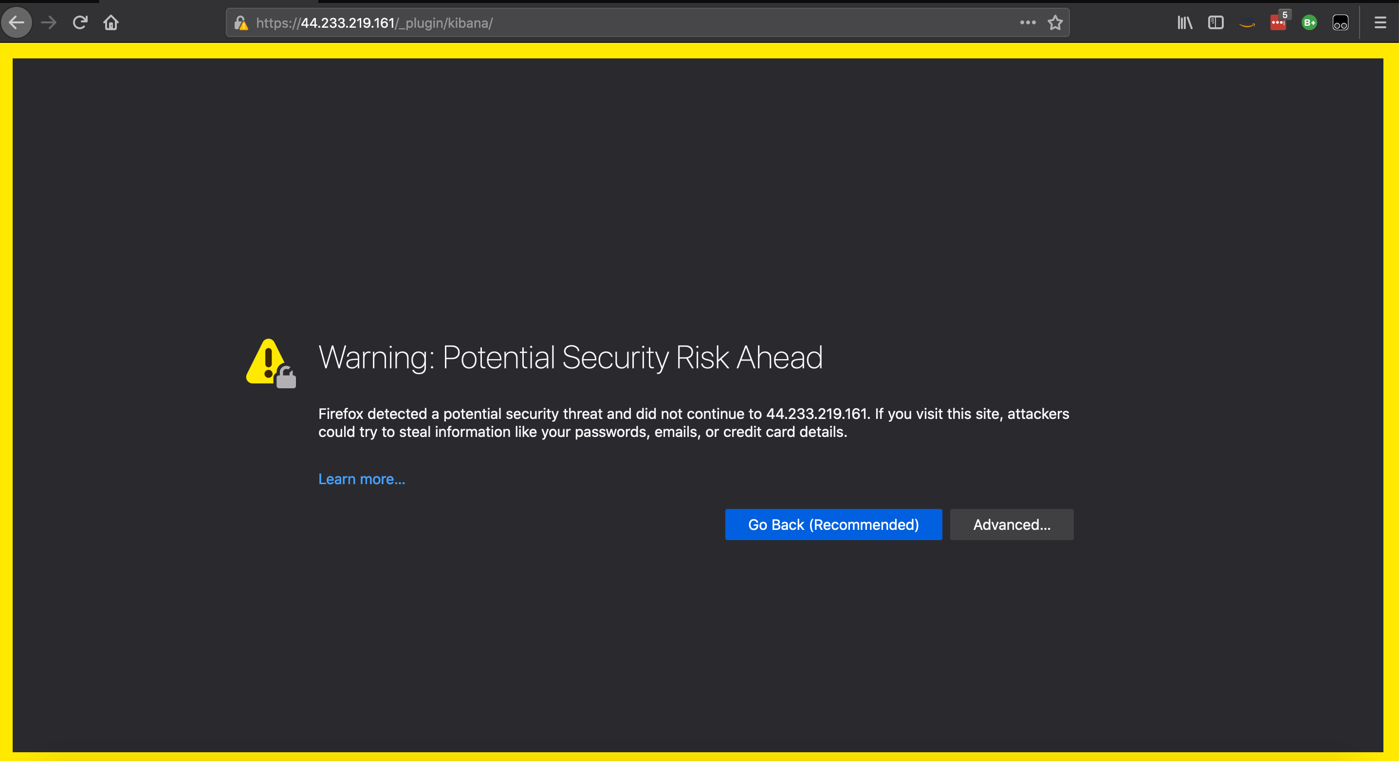 The browser displays Warning: Potential Security Risk Ahead with Go Back (Recommended) and Advanced buttons.