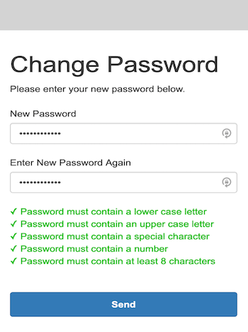 The Change Password page provides fields to enter and re-enter the password and lists password requirements.