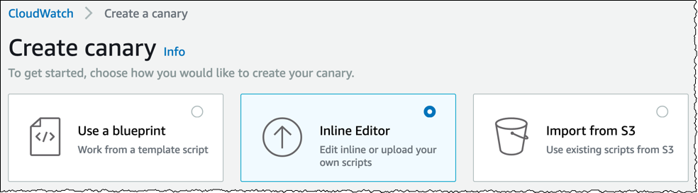 Create canary using inline editor