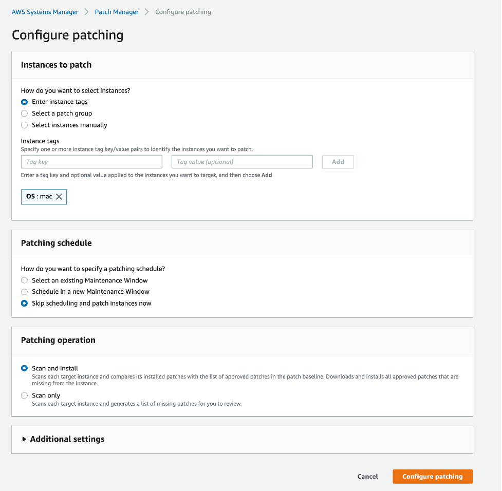 Configure patching console with instance tags OS:mac and patching schedule section with skip scheduling and patch now option and patching operation of scan and install selected.