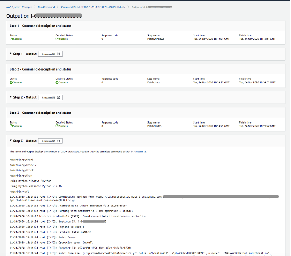 Run Command output console of the patching operation showing the output of patch installation on Amazon EC2 macOS instances.