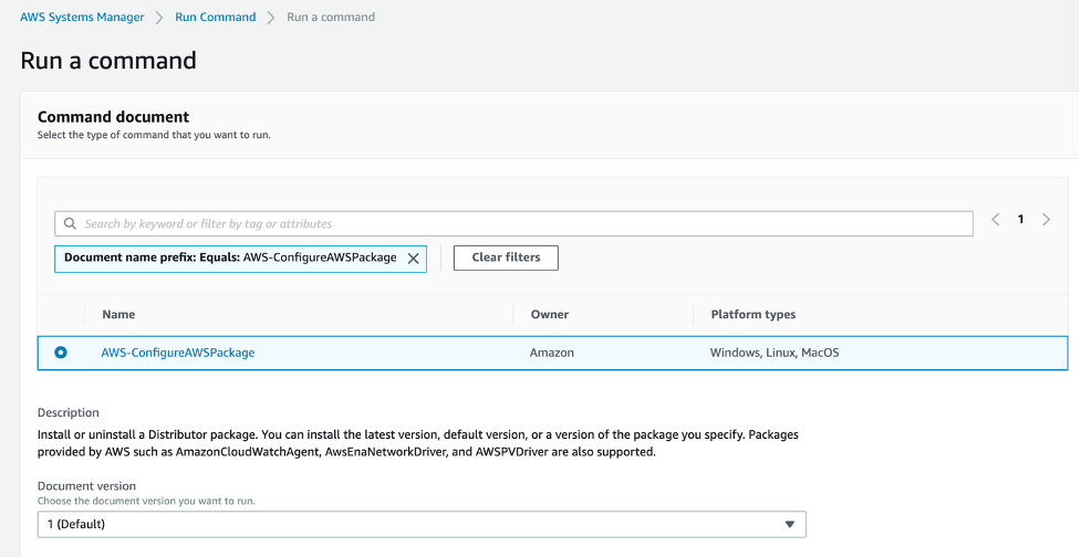 Run Command console with AWS-ConfigurAWSPackage command document.