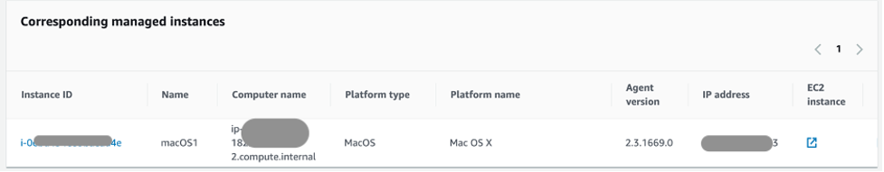 Corresponding managed instances section on Inventory console with Amazon EC2 macOS instance selected.