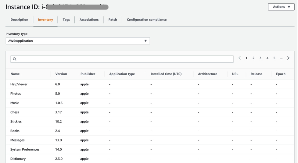 Amazon EC2 macOS instance inventory metadata with AWS:Application inventory type.