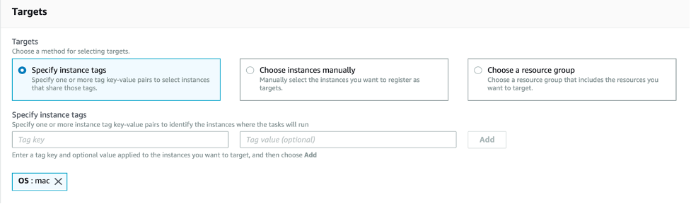 Run Command targets section with specify instance tags menthod selected and tag key OS and tag value mac added.