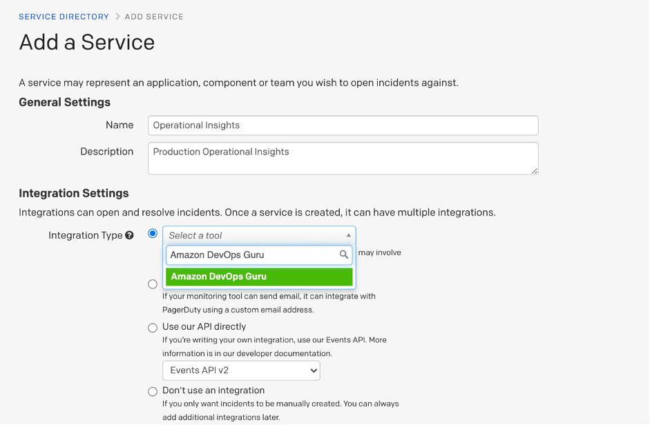 Select Amazon DevOps Guru from integration