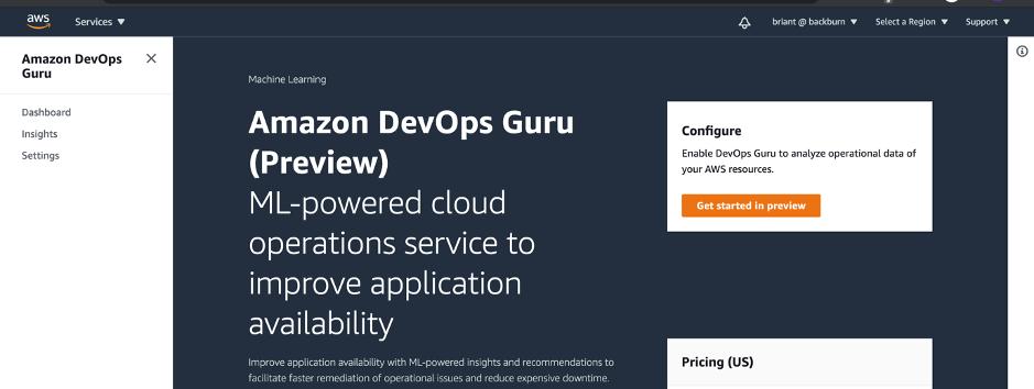 Amazon DevOps Guru Console