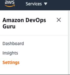 Amazon DevOps Guru Console setting button