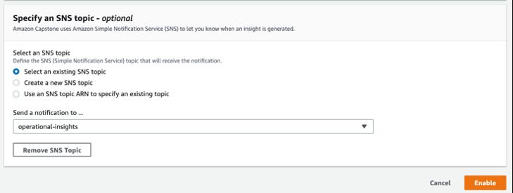 Select Amazon SNS topic
