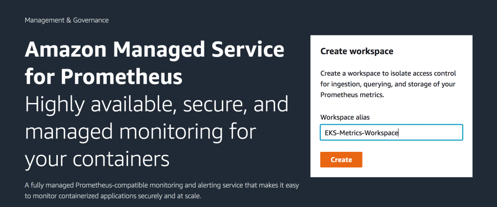 Creating a workspace in Amazon Managed Service for Prometheus