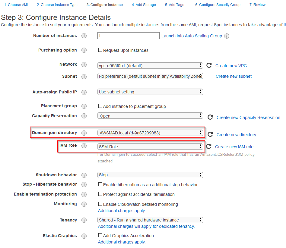 Under Configure Instance Details, Make sure to select the directory under Domain Join Directory and IAM roles that has enough permissions.